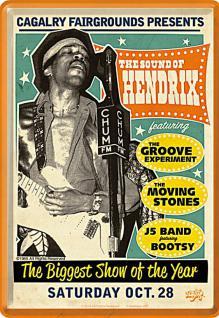 Blechpostkarte Jimi Hendrix