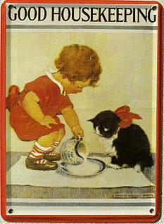 Good Housekeeping Katze Mini Blechschild