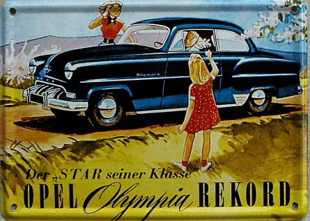 Opel Rekord Olympia Mini Blechschild