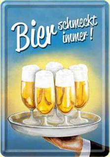 Blechpostkarte Bier schmeckt immer - Tablett