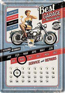 Blechpostkarte Best Garage blue Kalender