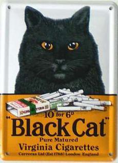 Black Cat Mini Blechschild - Vorschau