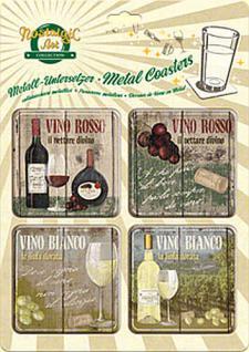 Metall-Untersetzer-Set - Vino Rosso + Bianco