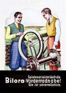 Blechpostkarte Bilora Vorderradnabe