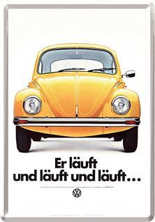 Blechpostkarte VW - er läuft und läuft