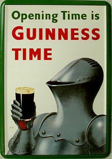 Blechpostkarte Guinness Ritter