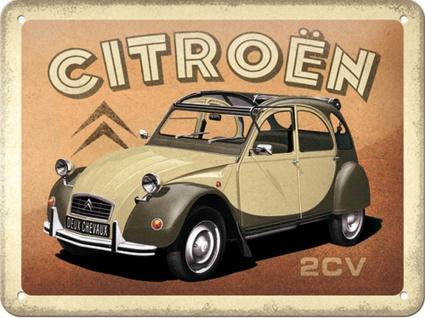 Citroen - 2CV Blechschild, 20 x 15 cm