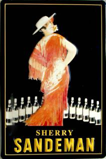 Sandeman Sherry (rotes Kleid) Blechschild