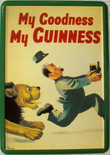 Blechpostkarte Guinness Löwe