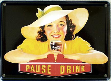 Coca Cola Pause Drink Mini Blechschild