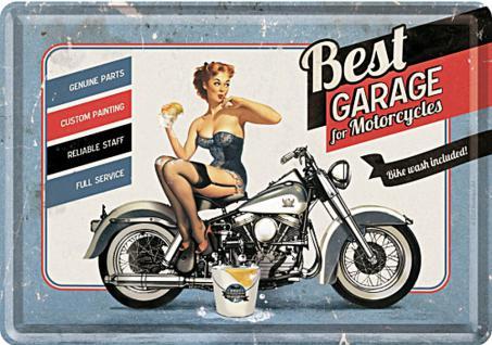 Blechpostkarte Best Garage for Motorcycles