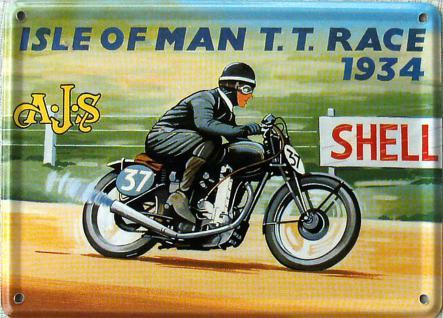 A.J.S. Isle Of Man T.T. Race 1934 Mini Blechschild - Vorschau
