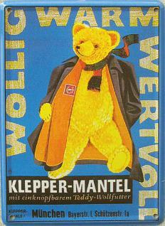 Klepper-Mantel Teddy Mini Blechschild