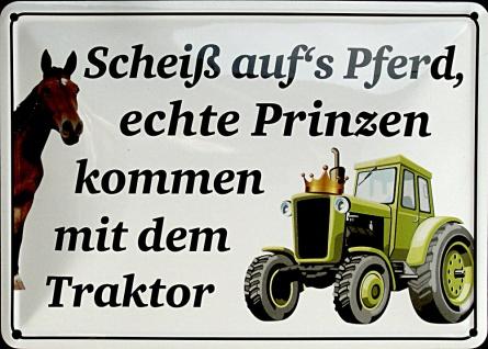 Blechpostkarte Scheiss aufs Pferd (Traktor)