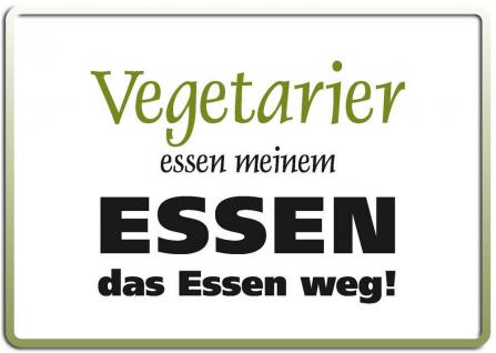 Blechpostkarte Vegetarier essen...