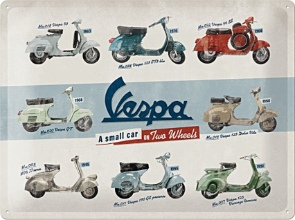 Vespa - Modell Chart Blechschild
