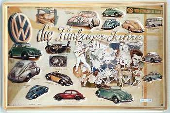 VW die Fünfziger Jahre Blechschild