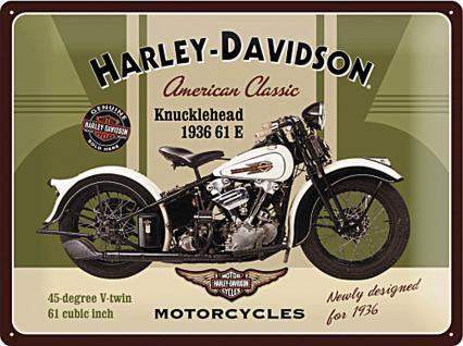 Harley-Davidson Knucklehead Blechschild - Vorschau