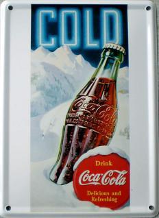 Coca Cola Cold Mini Blechschild