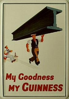 Blechpostkarte Guinness Stahlträger