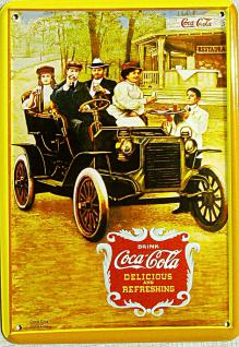 Blechpostkarte Coca Cola Oldtimer