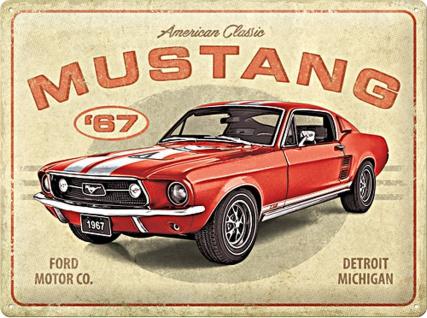 Ford - Mustang GT 1967 Red Blechschild, 40 x 30 cm