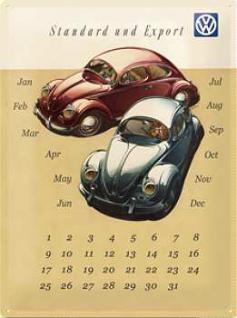 VW Standard und Export Kalender Blechschild