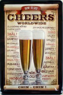Cheers Worldwide Blechschild, 20 x 30 cm - Vorschau
