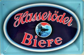 Hasseröder Bier, blau Blechschild, 30 x 20 cm