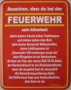 Fun-Schild Feuerwehr... Anzeichen - Vorschau
