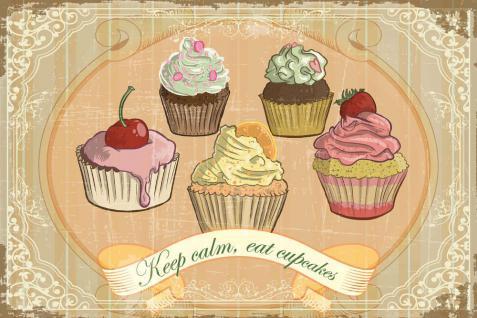 Cupcakes - Keep calm, eat cupcakes Blechschild - Vorschau