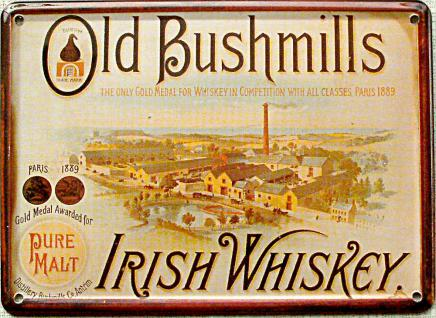 Old Bushmills Irish Whiskey Mini Blechschild