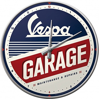 Vespa - Garage Wanduhr (Echtglas)