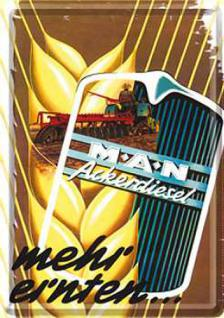 Blechpostkarte M.A.N. Ackerdiesel