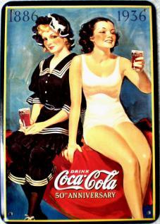 Blechpostkarte Coca Cola 50th Anniversary