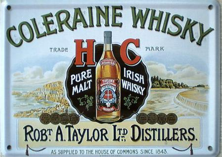Coleraine Whisky Mini Blechschild