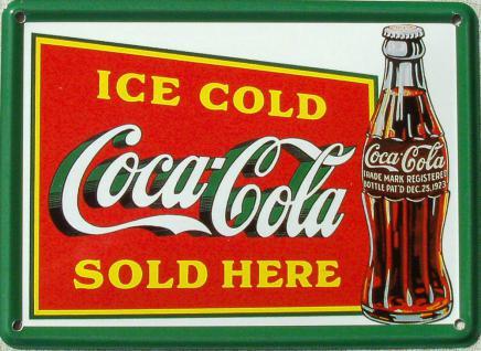 Coca Cola Ice Cold Sold Here Mini Blechschild