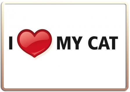 Blechpostkarte I love my Cat