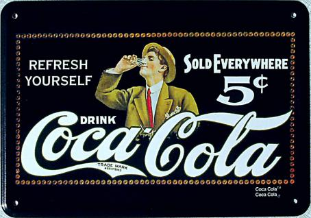 Blechpostkarte Coca Cola - Sold Everywhere