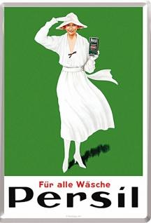 Blechpostkarte Persil - Weiße Dame Grün 1922