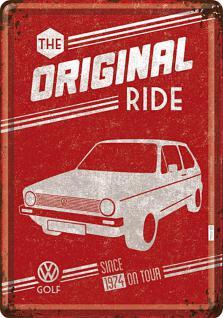 Blechpostkarte VW Golf - The Original Ride