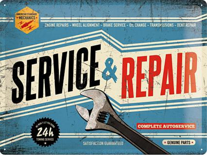 Service & Repair Blechschild