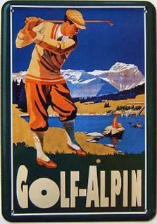 Blechpostkarte Golf-Alpin