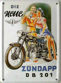Zündapp die neue DB 201 Mini Blechschild