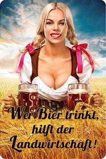 Wer Bier trinkt hilft der Landwirtschaft - Frau Blechschild - Vorschau