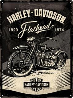 Harley-Davidson - Flathead Black Blechschild