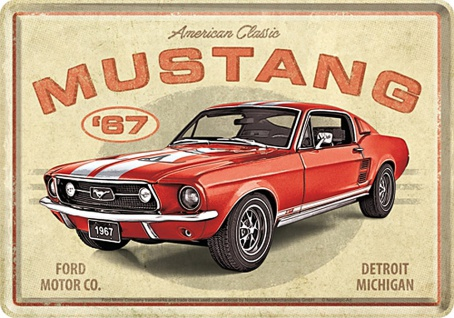 Blechpostkarte Ford Mustang GT 1967