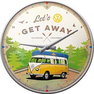 VW Bulli - Let's Get Away Wanduhr