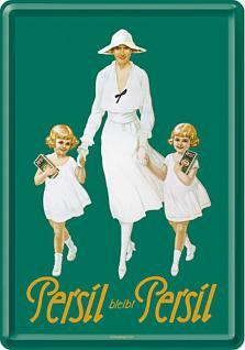 Blechpostkarte Persil - Weiße Dame mit Kindern 1925