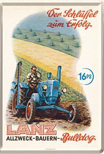 Blechpostkarte Lanz - der Schlüssel zum Erfolg